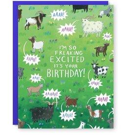 Yelling Birthday Goats Greeting Card