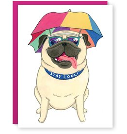Cactus Club Paper Stay Cool Pug Greeting Card