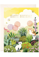 JooJoo Paper Happy Birthday (Cats In Garden) Greeting Card
