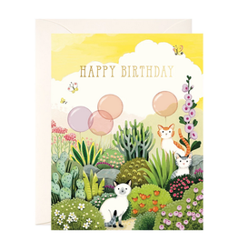 JooJoo Paper Happy Birthday (Cats In Garden) Greeting Card