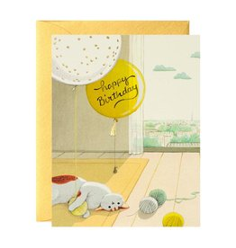 Happy Birthday (Cat & Yarn) Greeting Card