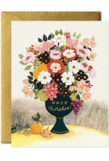 Best Wishes Flower Vase Greeting Card