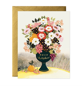 Best Wishes Flower Vase Greeting Card