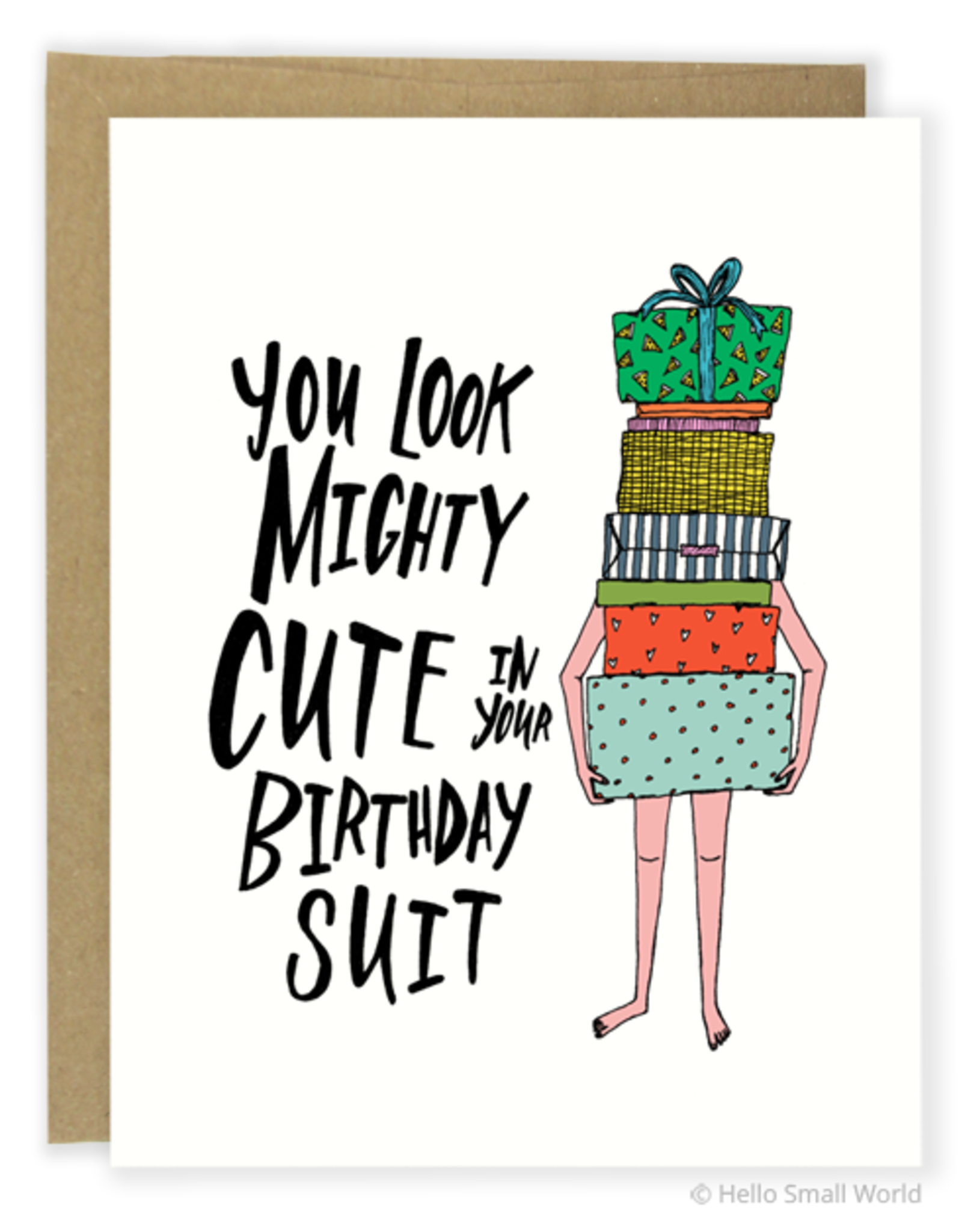 Hello Small World Birthday Suit Greeting Card