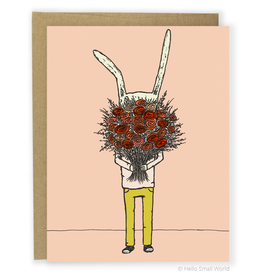 Hello Small World Flower Rabbit Greeting Card