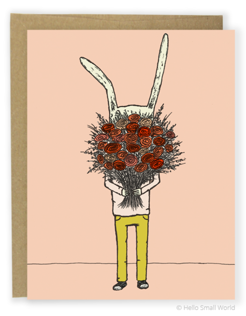 Hello Small World Flower Rabbit Greeting Card