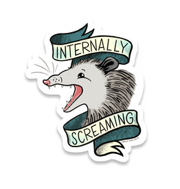 Frog & Toad Press Internally Screaming Possum Sticker