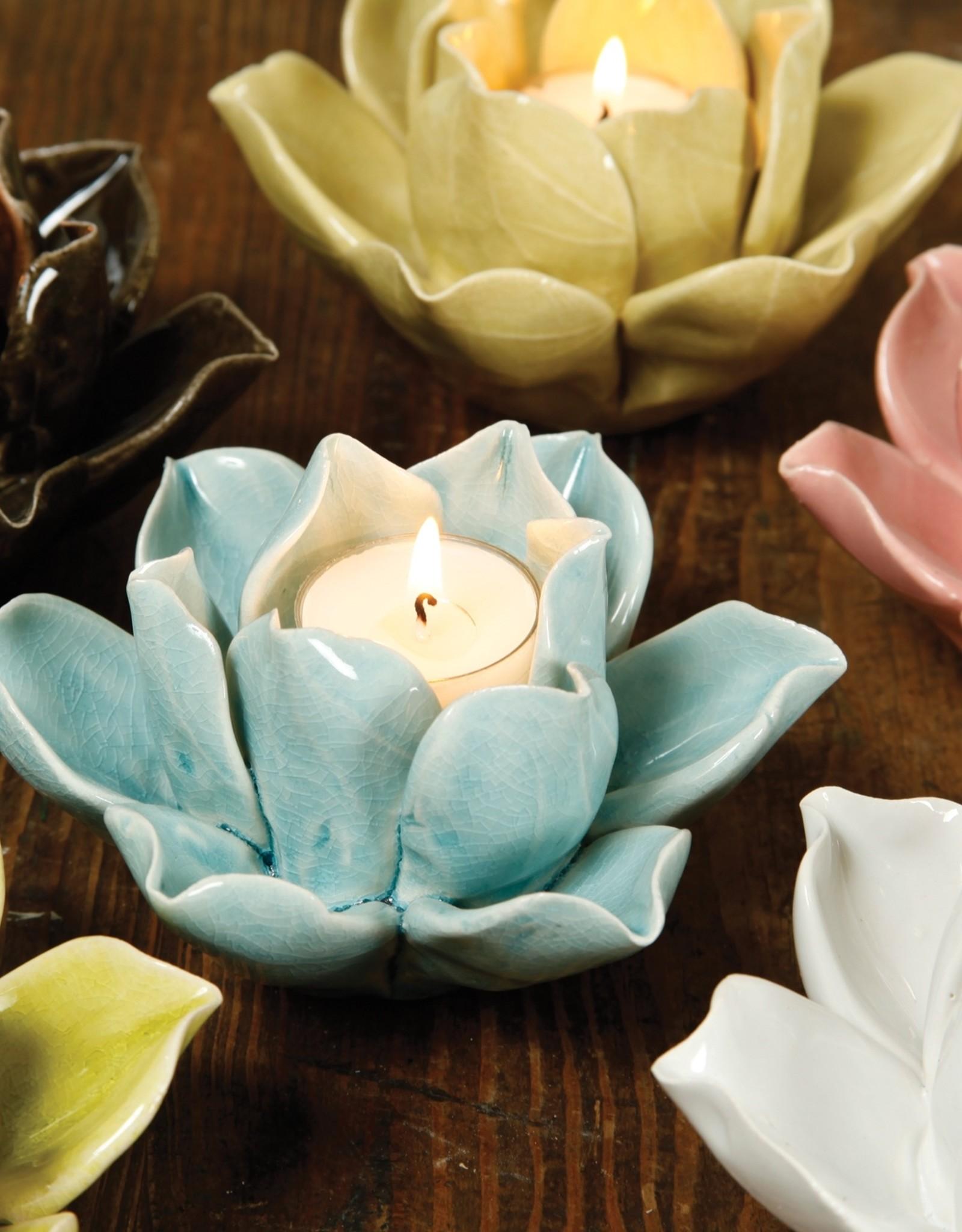 Lotus Tea Light Holder - Teal