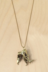 Rhino Skull Necklace - Brass