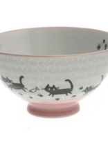 Grey Crackle Pink Cats Rice Bowl