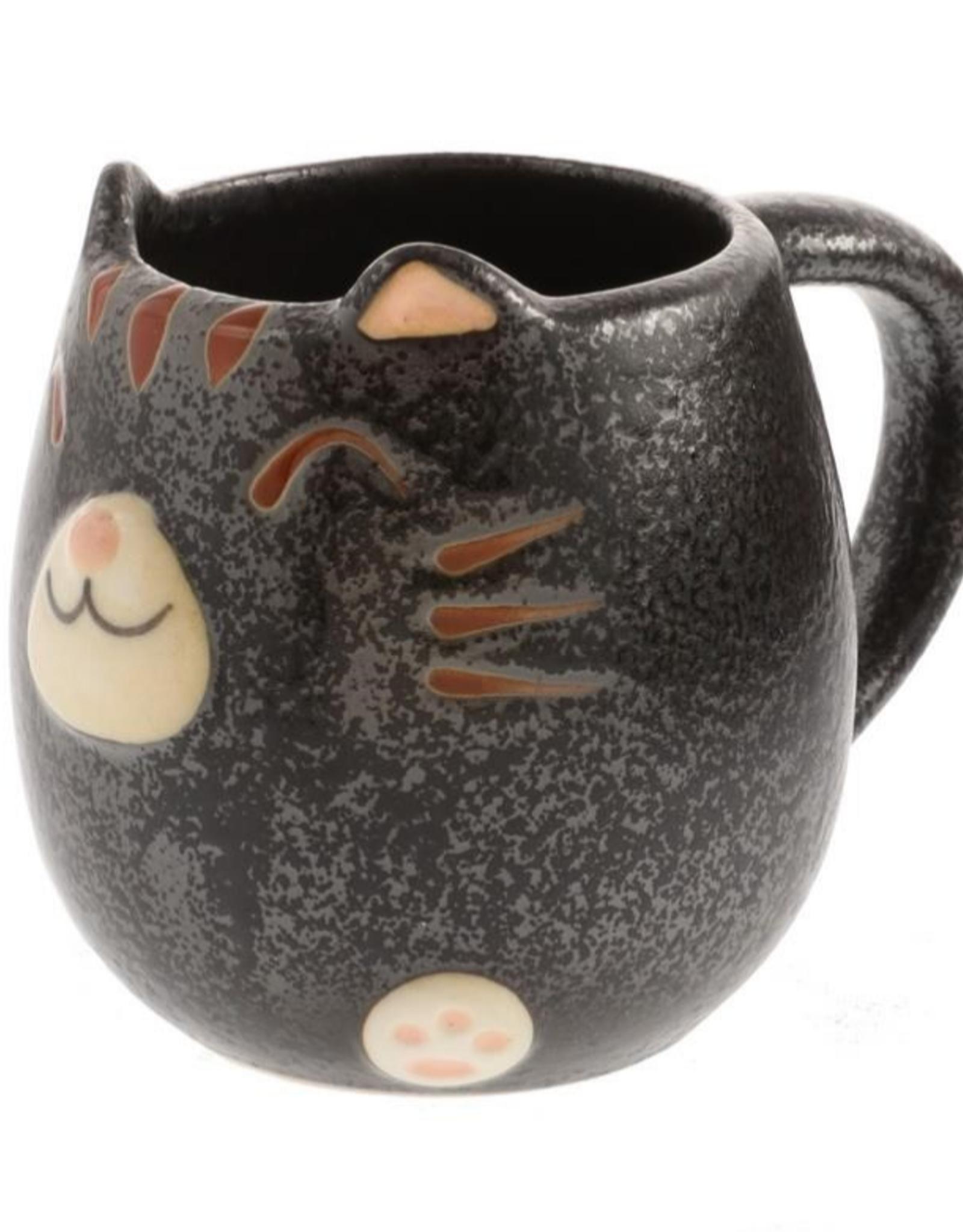 Black Tabby Cat Round Mug