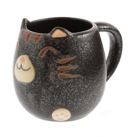 Kotobuki Black Tabby Cat Round Mug