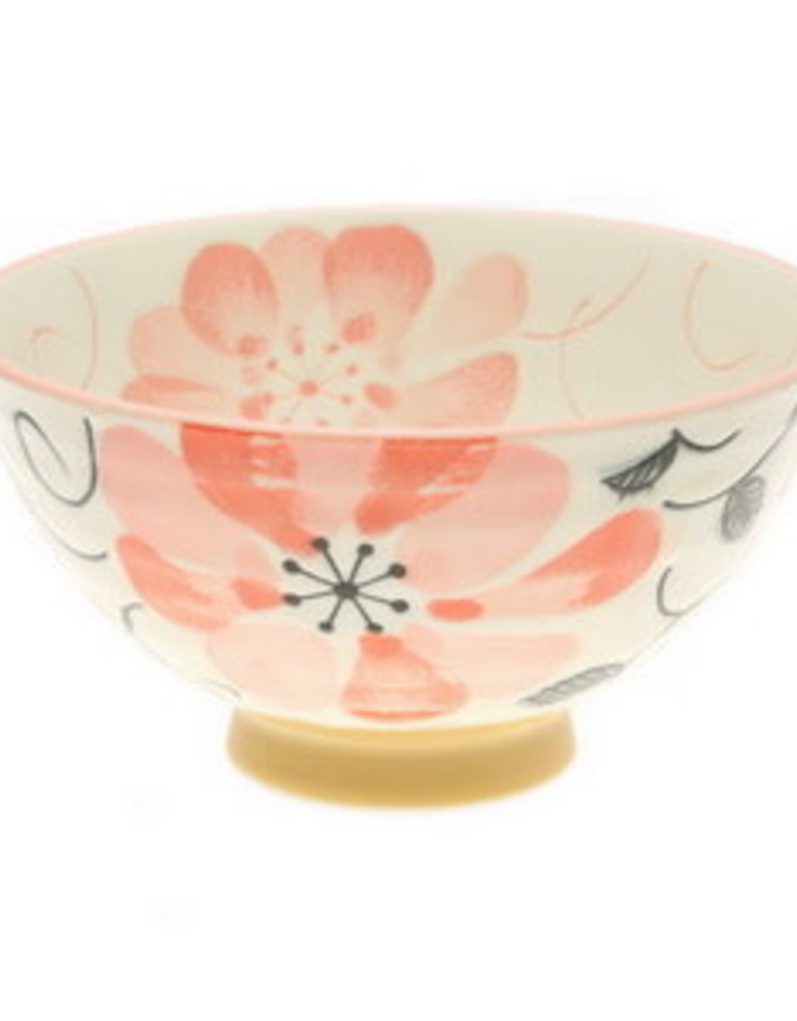 Pink Watercolor Flowers Rice Bowl