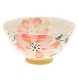 Kotobuki Pink Watercolor Flowers Rice Bowl
