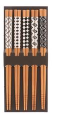 Kotobuki Bamboo Sakigake Black & White Chopstick Set