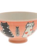 Red Otoboke Cat Rice Bowl