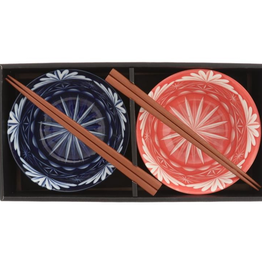 Kotobuki Cobalt / Red Edo Kiriko Bowl Set of 2