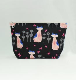 Dana Herbert Accessories Cosmetic Bag Large : Pink & Black Cat