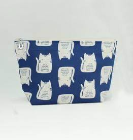 Dana Herbert Accessories Cosmetic Bag Large : Blue Cat