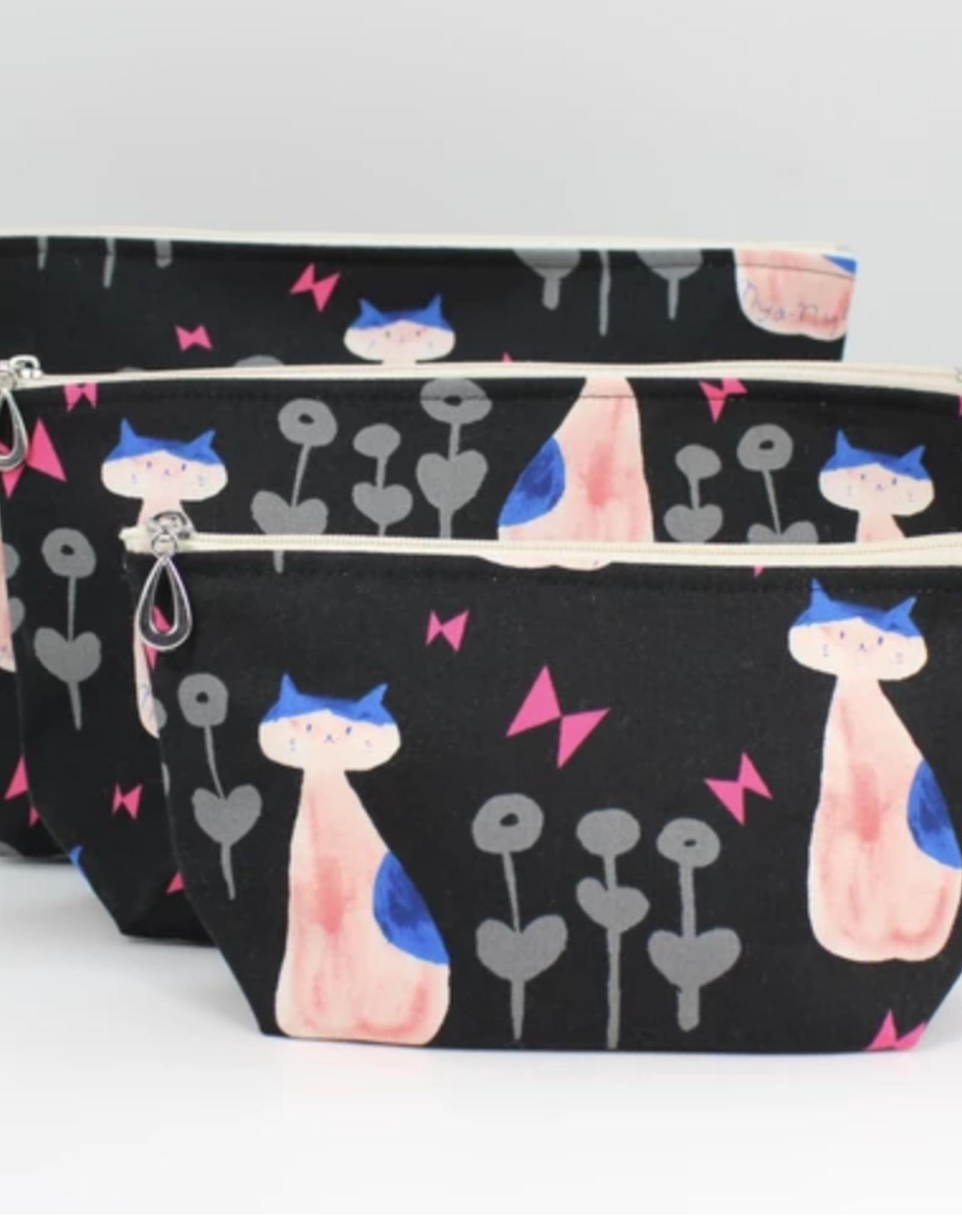 Dana Herbert Accessories Cosmetic Bag Medium : Pink & Black Cat
