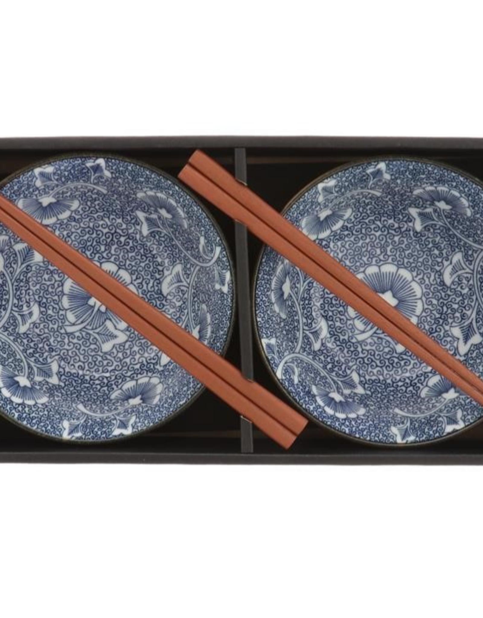 Blue Gingko Arabesque Bowl Set 2pc