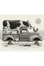 Cow in Truck Print