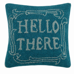 Peking Handicraft Hello There Handcrafted Hook Pillow