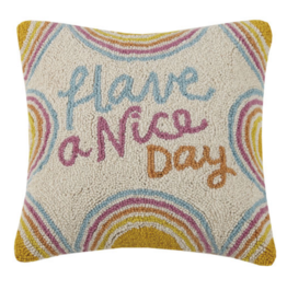 Have a Nice Day Handcrafted Hook Pillow