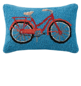 Peking Handicraft Red Bike Handcrafted Hook Pillow