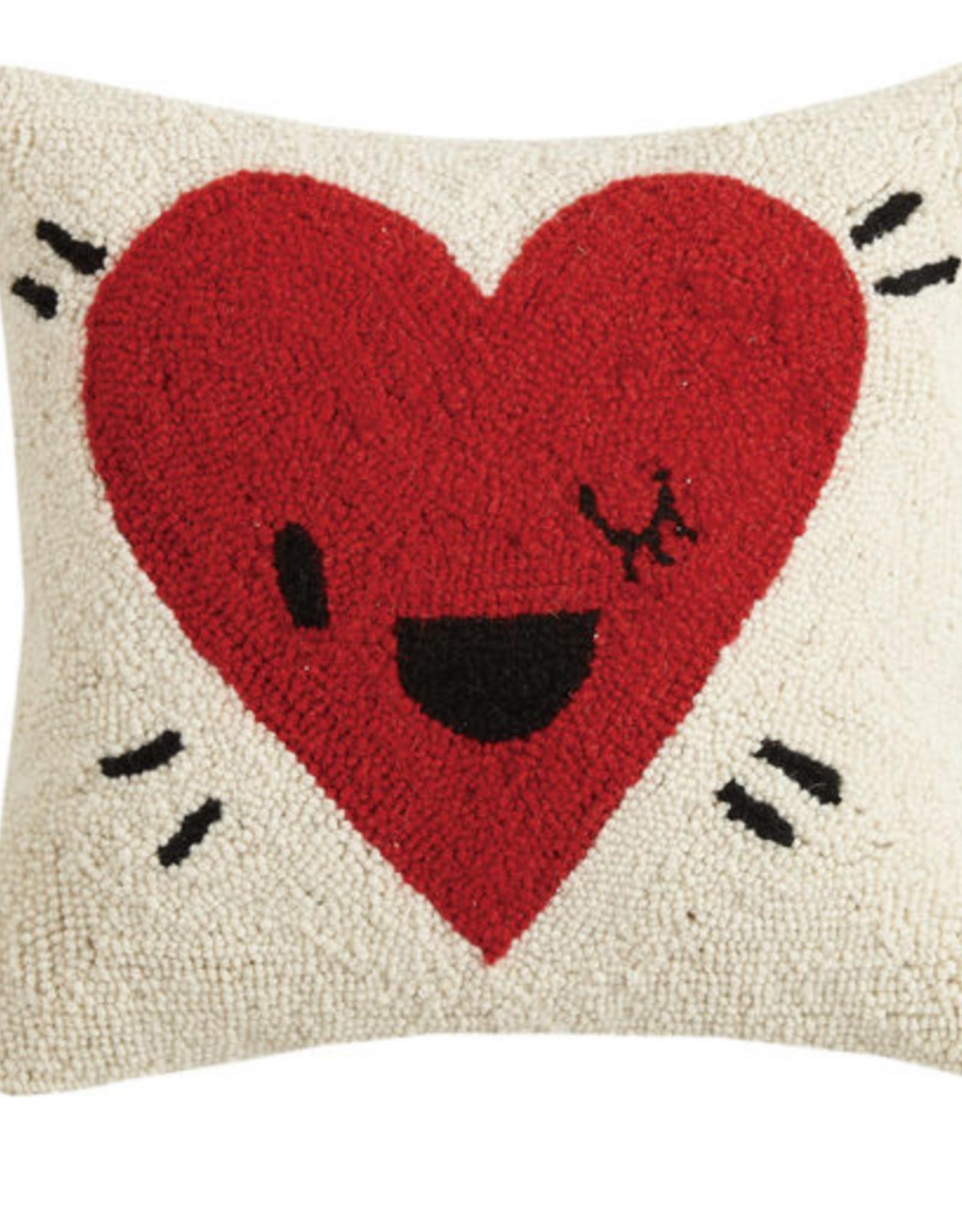 Peking Handicraft Heart Wink Handcrafted Hook Pillow