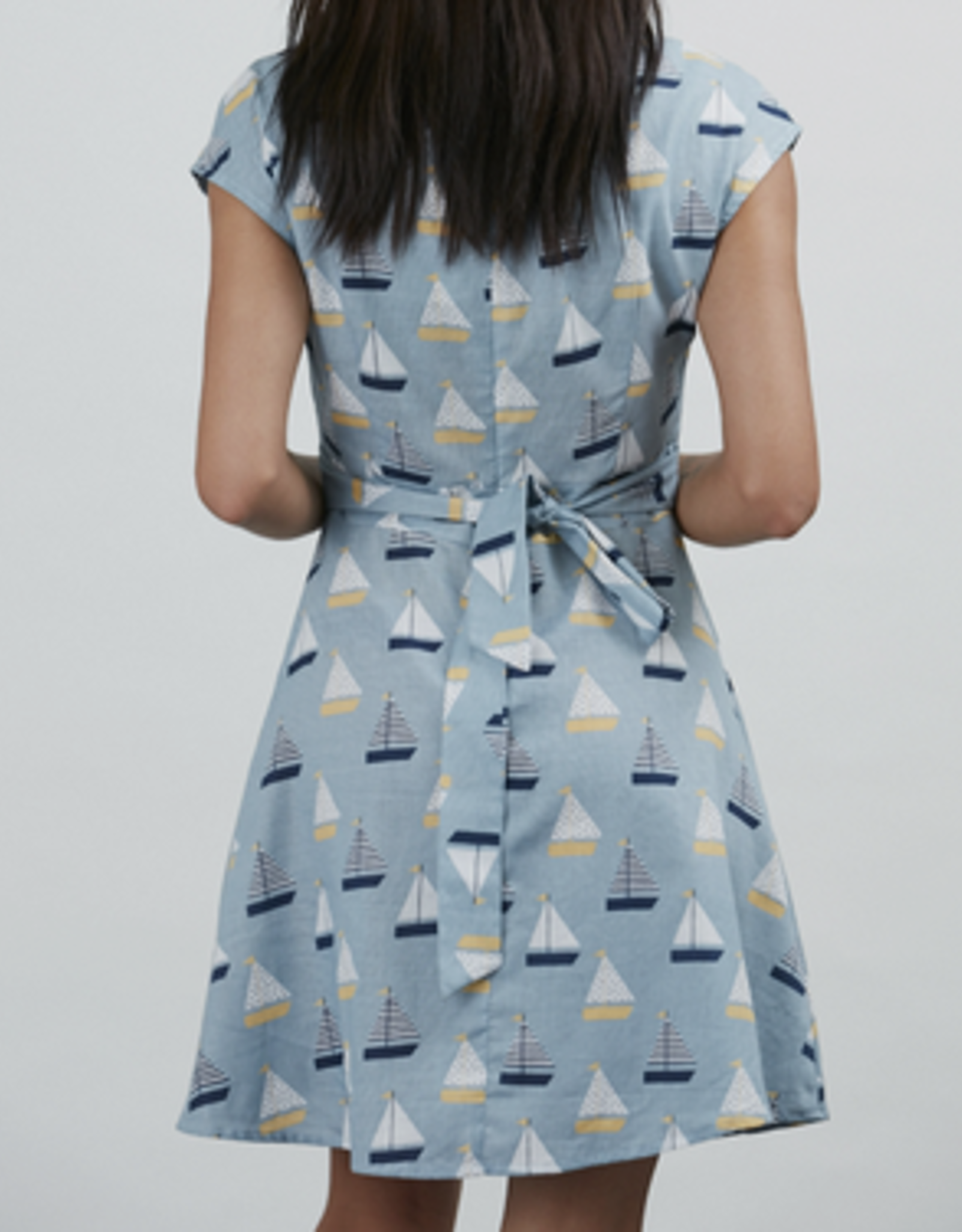 Sailboat Print A Line Dress