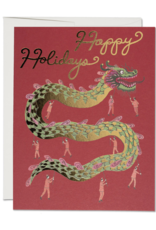 Red Cap Cards Happy Holidays Chinese Dragon Greeting Card