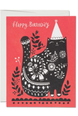 Happy Birthday Black Cat Greeting Card