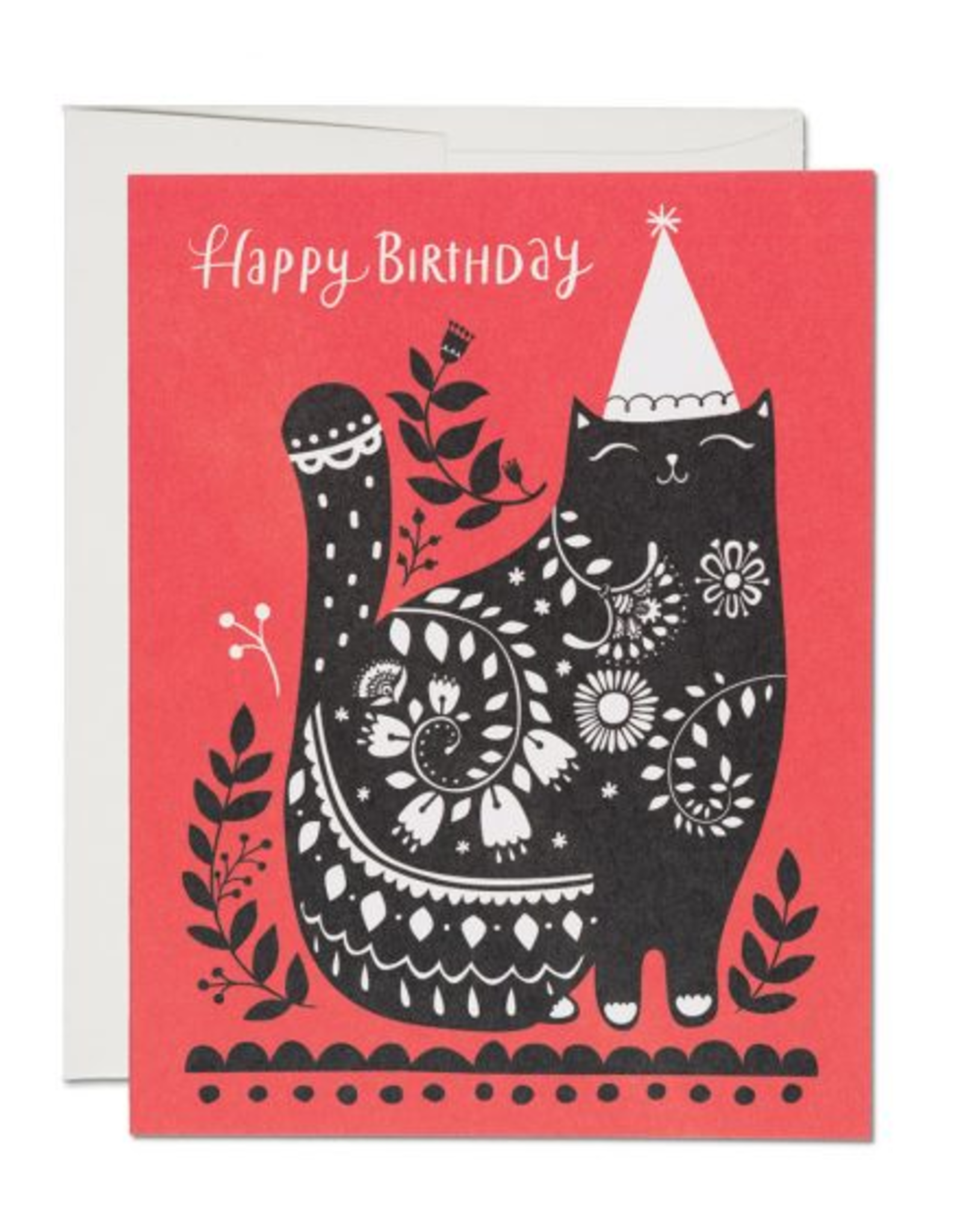 Red Cap Cards Happy Birthday Black Cat Greeting Card