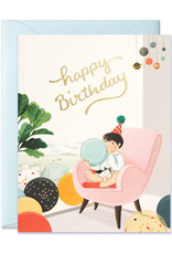Happy Birthday (Blowing Balloons) Greeting Card