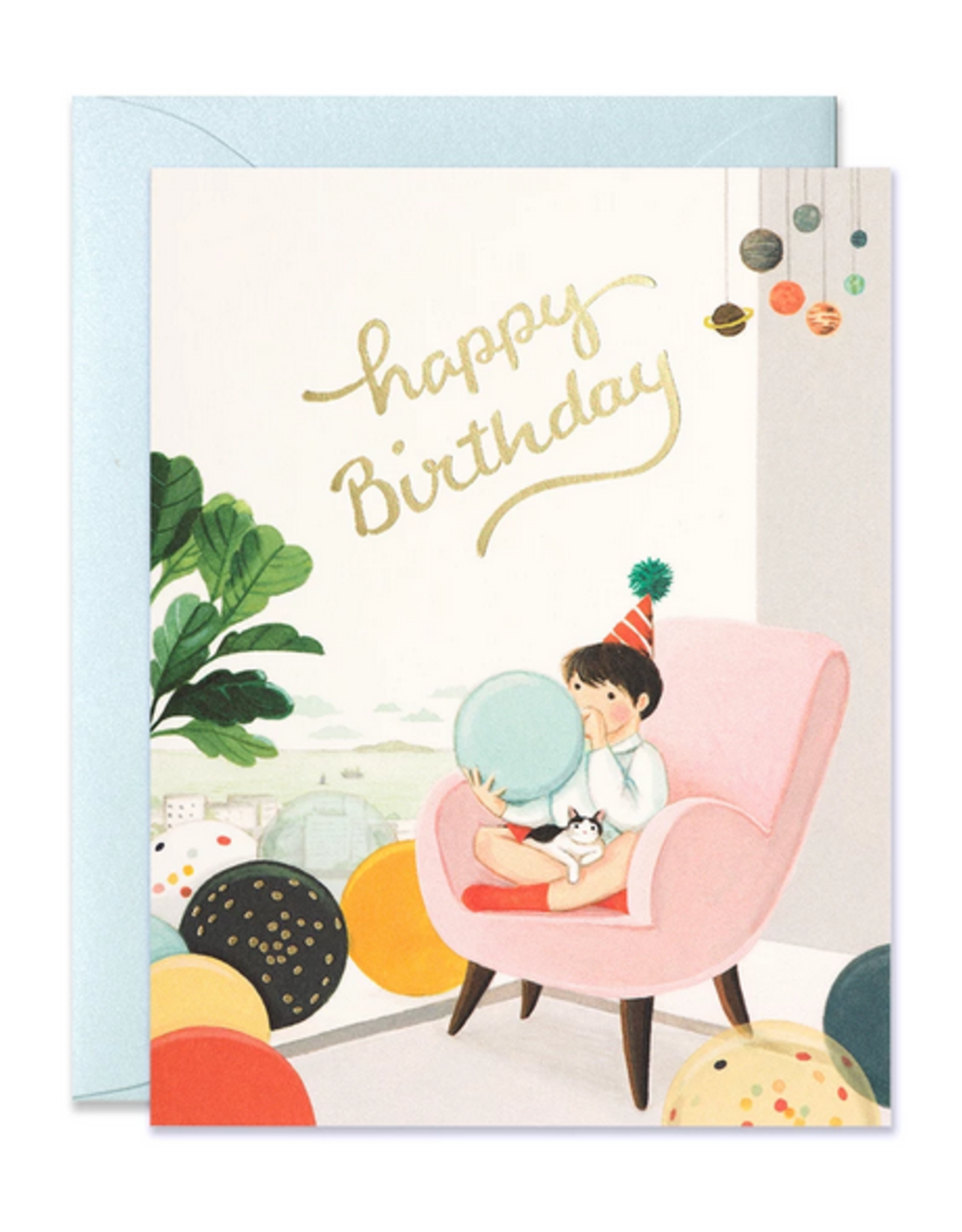 JooJoo Paper Happy Birthday (Blowing Balloons) Greeting Card