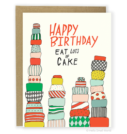 Hello Small World Eat Lots of Cake Greeting Card