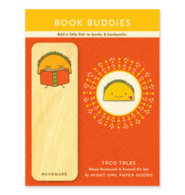 Night Owl Paper Goods Taco Tales Wooden Bookmark & Enamel Pin Gift Set
