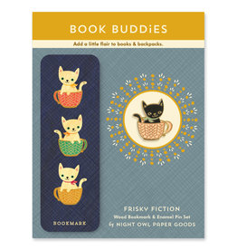 Night Owl Paper Goods Coffee Cats Wooden Bookmark & Enamel Pin Gift Set
