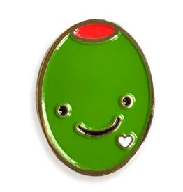 Olive Love Enamel Pin
