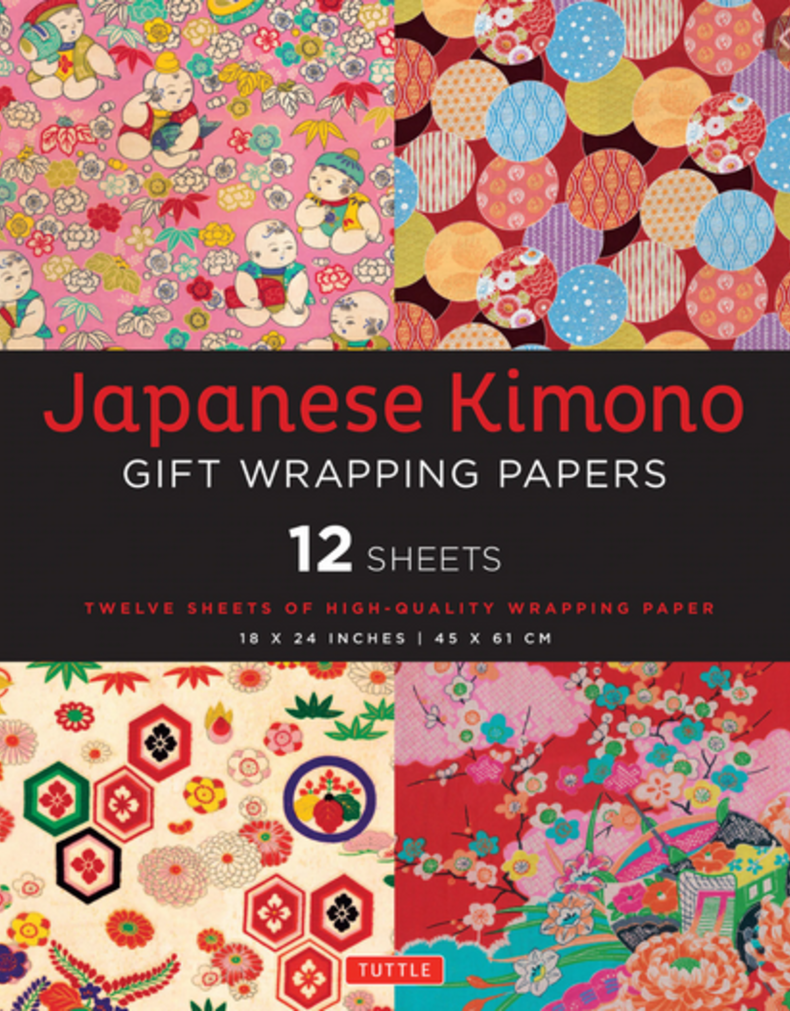 Japanese Kimono Gift Wrapping Papers, 12 Sheets