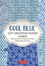 Cool Blue Gift Wrapping Papers, 6 Sheets