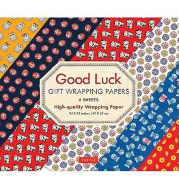 Tuttle Publishing Good Luck Wrapping Papers, 6 Sheets