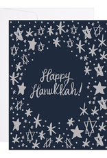 9th Letter Press Starry Hanukkah Greeting Card