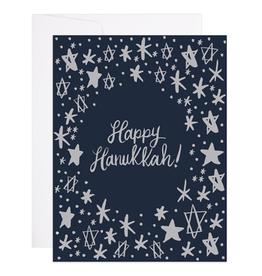 9th Letter Press Starry Hanukkah Greeting Card