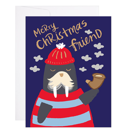 9th Letter Press Walrus Christmas Greeting Card