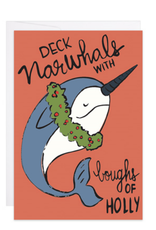 9th Letter Press Deck Narwhals with Boughs of Holly Mini Card