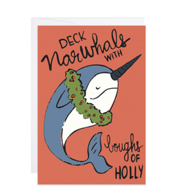 Deck Narwhals with Boughs of Holly Mini Card