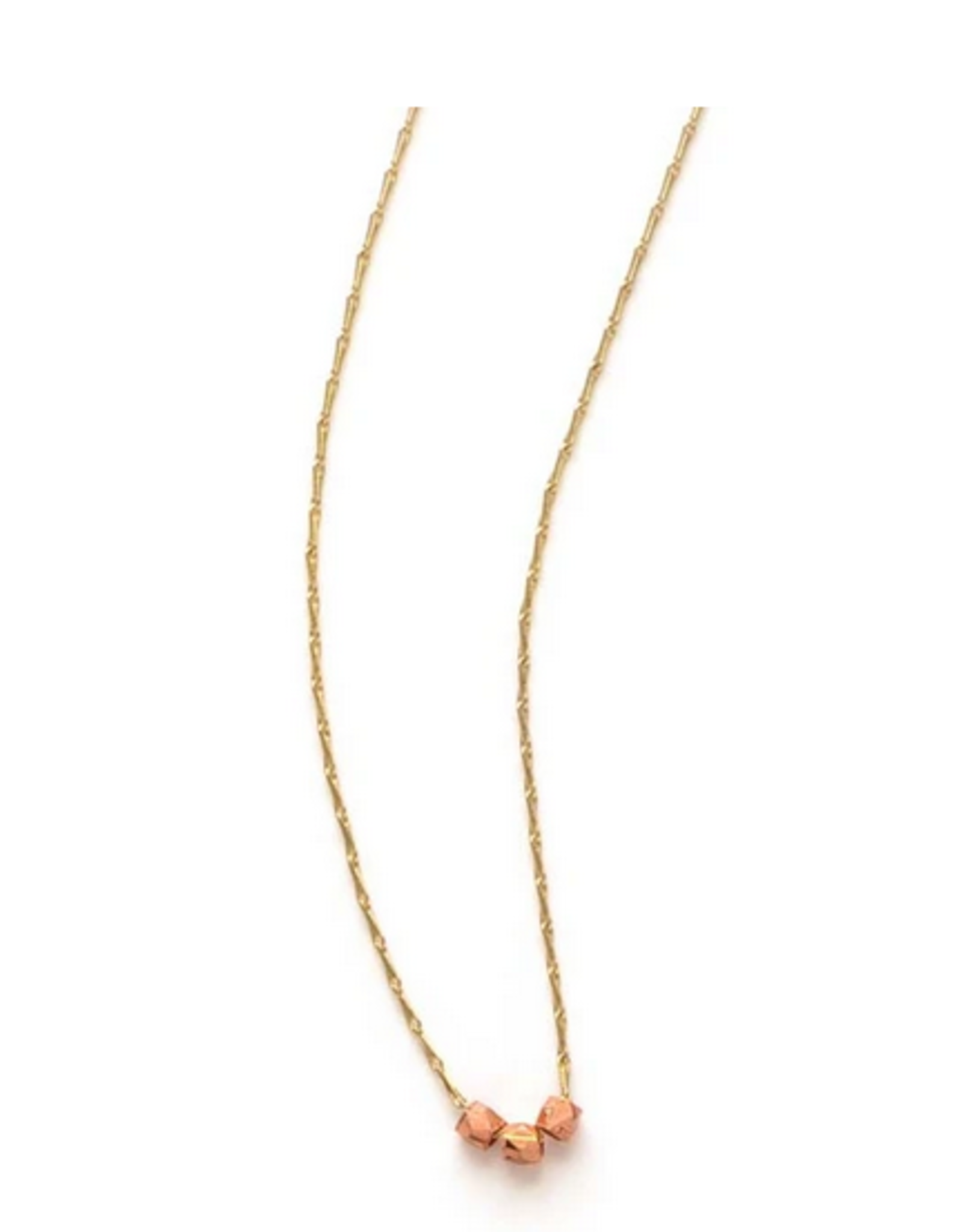 A Mano Trading Three Tiny Faceted Copper Beads Necklace