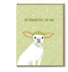 Modern Printed Matter Get Through This Frenchie Yoda Greeting Card